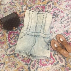SneakPeek Medium Denim romper acid wash effect
